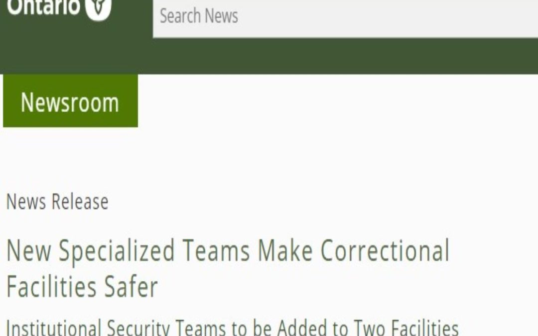New Specialized Teams Make Correctional Facilities Safer