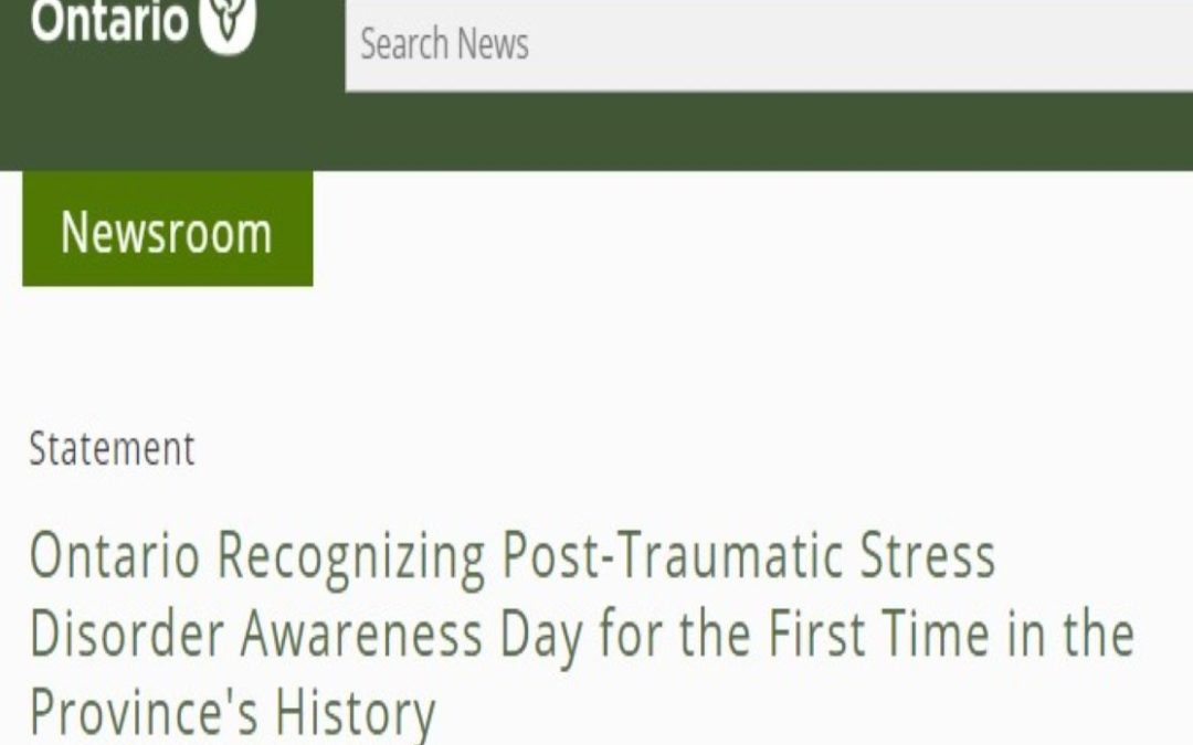 Ontario Recognizing Post-Traumatic Stress Disorder Awareness Day for the First Time in the Province's History
