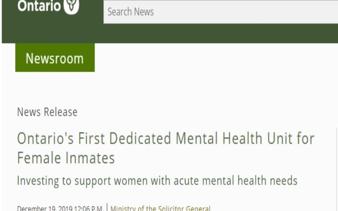 Ontario's First Dedicated Mental Health Unit for Female Inmates