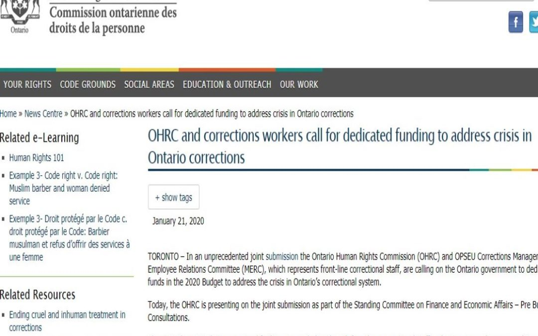 OHRC and Corrections MERC call for dedicated funding to address crisis in Ontario corrections