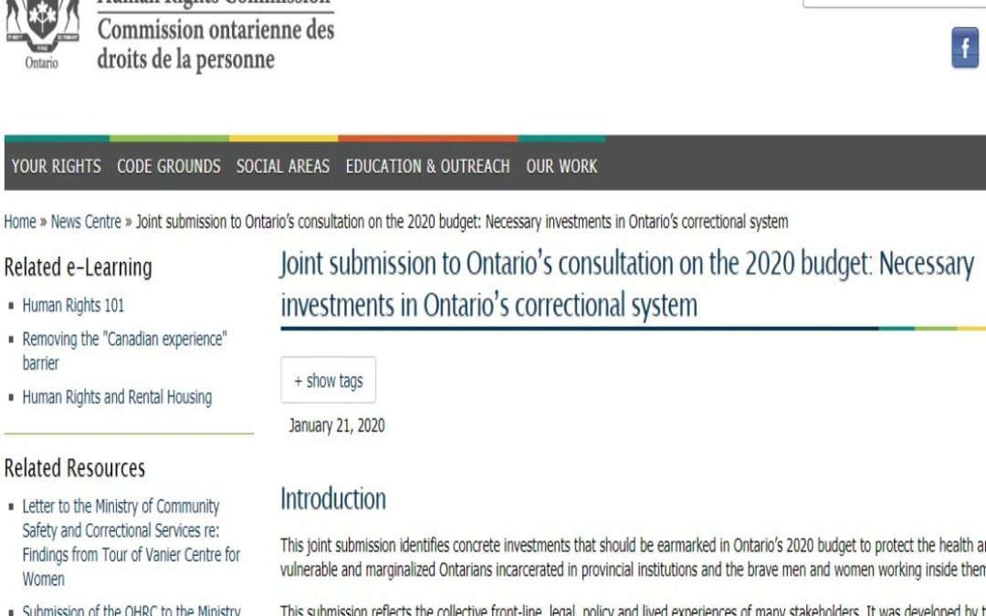 Joint submission to Ontario's consultation on the 2020 budget: Necessary investments in Ontario's correctional system