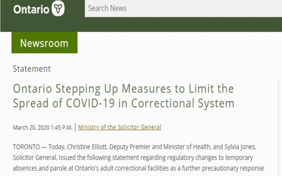 Ontario Stepping Up Measures to Limit the Spread of COVID-19 in Correctional System