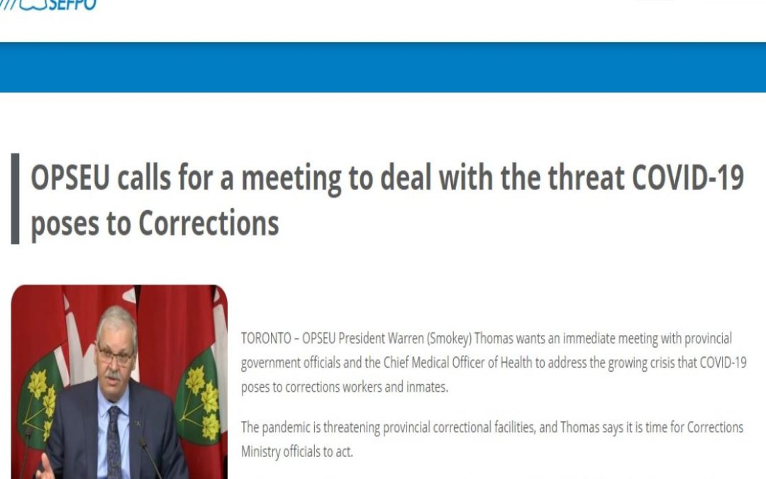 OPSEU calls for a meeting to deal with the threat COVID-19 poses to Corrections