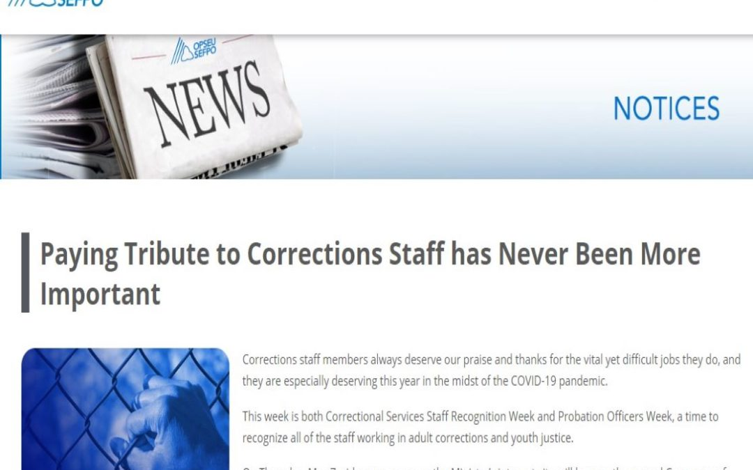 Paying Tribute to Corrections Staff has Never Been More Important