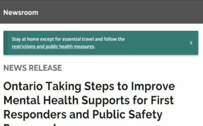 Ontario Taking Steps to Improve Mental Health Supports for First Responders and Public Safety Personnel