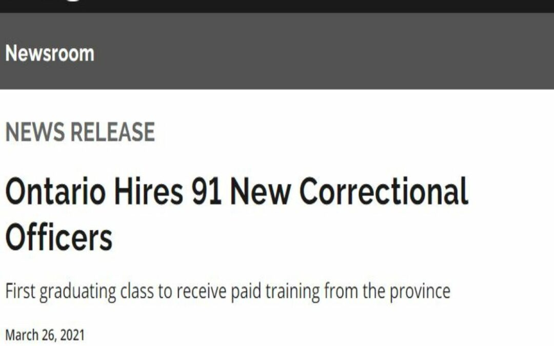 Ontario Hires 91 New Correctional Officers